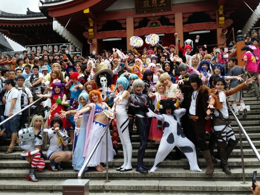 Pose para a foto oficial no templo de Osu Kannon
