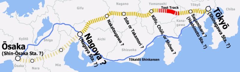 A linha azul é a atual linha do Trem-bala, e a pontilhada é a que será contruída